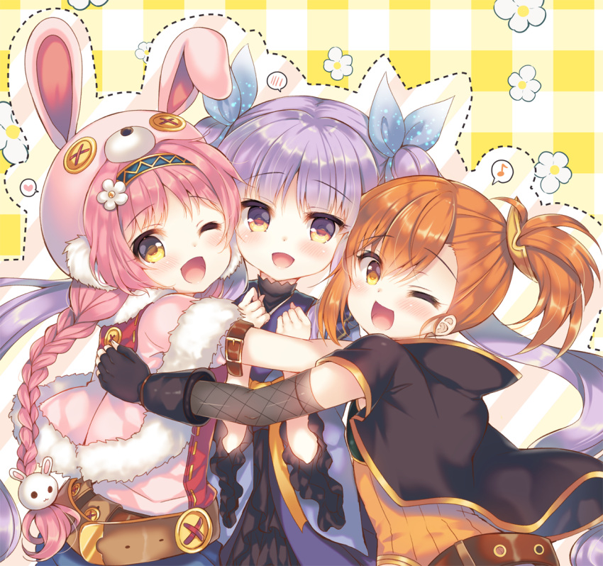 3girls :d ;d akane_mimi animal_ears animal_hat asymmetrical_bangs bangs belt black_gloves blue_hairband blue_kimono blue_ribbon blush braid brown_belt brown_eyes brown_hair bunny_hat capelet commentary_request eighth_note eyebrows_visible_through_hair fake_animal_ears fishnet_armwear floral_background flower fur-trimmed_capelet fur_trim girl_sandwich gloves group_hug hair_between_eyes hair_flower hair_ornament hair_ribbon hairband hat hikawa_kyoka hodaka_misogi hug japanese_clothes kimono long_hair long_sleeves multiple_girls musical_note one_eye_closed open_mouth orange_shirt parted_bangs pink_capelet pink_hair pink_headwear plaid plaid_background princess_connect! princess_connect!_re:dive puffy_short_sleeves puffy_sleeves purple_hair ribbed_shirt ribbon sandwiched shirt short_sleeves side_ponytail sidelocks single_braid smile spoken_blush spoken_musical_note suzunone_rena twintails very_long_hair white_flower wide_sleeves yellow_eyes