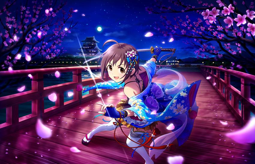 idolmaster_cinderella_girls_starlight_stage purple_hair short_hair smile sword traditional_clothes violet_eyes wakiyama_tamami warrior