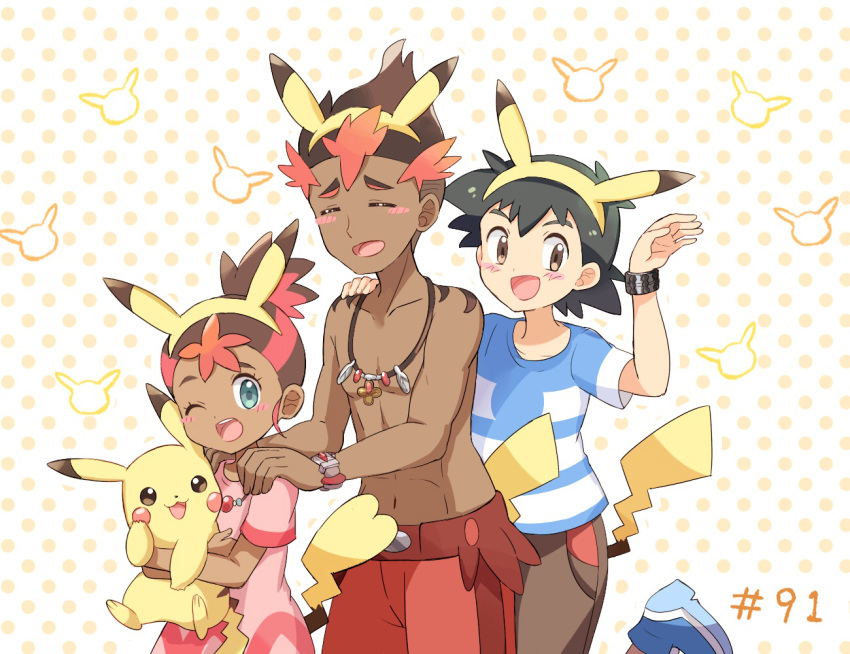 1girl 2boys :3 abs animal_ears aqua_eyes arm_up bangs black_hair blue_footwear blue_shirt blush blush_stickers brother_and_sister brown_eyes brown_hair brown_shorts child closed_eyes collarbone creatures_(company) dark_skin dark_skinned_male dress episode_number fake_animal_ears fake_tail flat_chest game_freak gen_1_pokemon hairband hand_on_another's_shoulder hand_up hands_on_another's_shoulders happy holding holding_pokemon hoshi_(pokemon) jewelry kaki_(pokemon) leg_up looking_at_viewer looking_to_the_side mei_(maysroom) multicolored_hair multiple_boys navel necklace nintendo number one_eye_closed open_mouth orange_background pikachu pikachu_ears pikachu_tail pink_dress pokemon pokemon_(anime) pokemon_(creature) pokemon_ears pokemon_sm_(anime) polka_dot polka_dot_background red_shorts redhead satoshi_(pokemon) shirt shirtless shoes short_hair short_sleeves shorts siblings simple_background smile standing standing_on_one_leg striped striped_shirt tail trial_captain two-tone_hair yellow_hairband