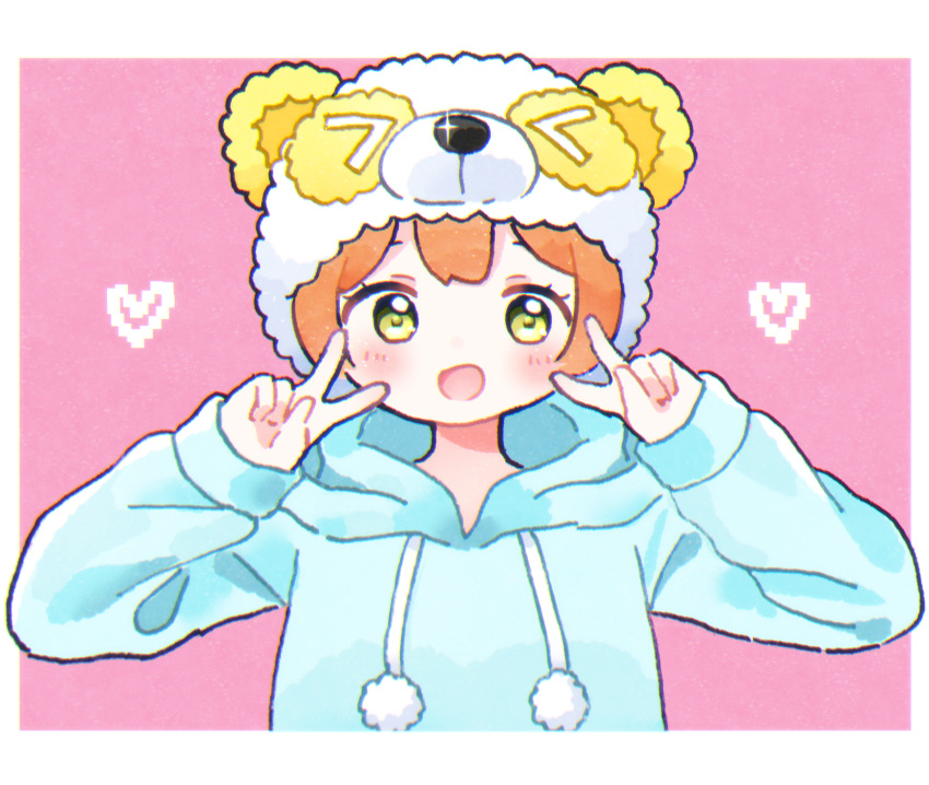 1girl :d bear_hat blue_hoodie blush double_v green_eyes heart highres hood hood_down hoshizora_rin long_sleeves looking_at_viewer love_live! love_live!_sunshine!! open_mouth orange_hair pajamas pink_background pom_pom_(clothes) short_hair simple_background smile solo upper_body v yashino_84