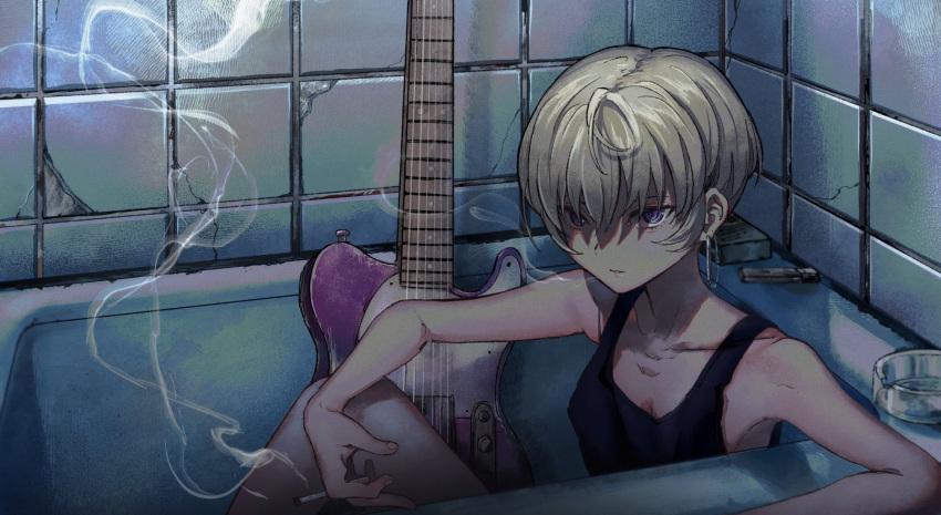 1girl ahoge bathroom bathtub black_tank_top blonde_hair character_request cigarette cigarette_box collarbone copyright_request earrings electric_guitar flat_chest guitar highres indoors instrument jewelry lighter looking_at_viewer shiontaso short_hair sitting smoking solo tile_wall tiles