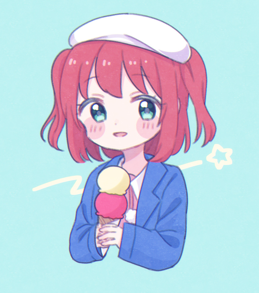 1girl :d aqua_background aqua_hair beret blue_jacket blush_stickers double_scoop food hat highres holding holding_food ice_cream ice_cream_cone jacket kurosawa_ruby looking_at_viewer love_live! love_live!_sunshine!! open_mouth pink_shirt pom_pom_(clothes) redhead shirt short_hair simple_background smile solo two_side_up upper_body white_headwear yashino_84