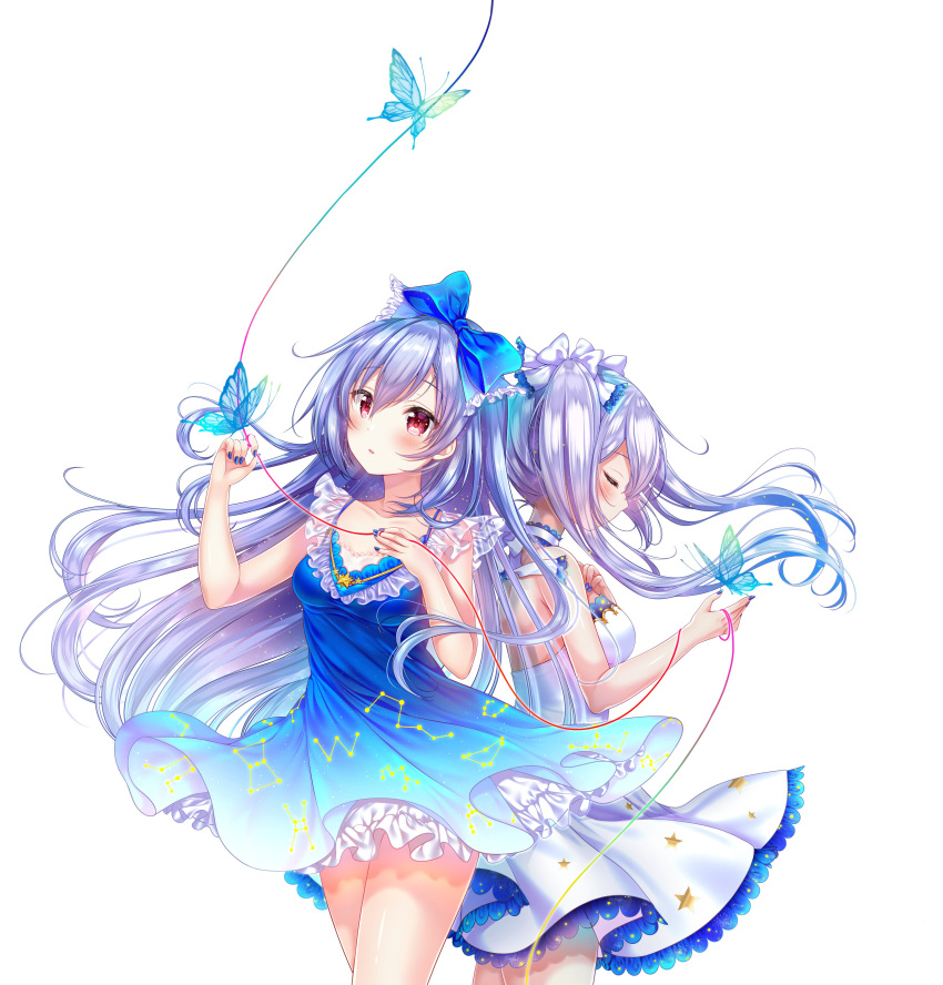 2girls absurdres aoba_project aoba_rena back-to-back bare_hips blue_bow blue_butterfly blue_dress blue_nails bow closed_eyes collarbone constellation_print cowboy_shot dress eyebrows_visible_through_hair floating_hair hair_between_eyes hair_bow highres long_hair multiple_girls nail_polish parted_lips print_dress red_eyes red_ribbon ribbon sakura_moyon silver_hair simple_background sleeveless sleeveless_dress standing twintails very_long_hair white_background white_bow white_dress