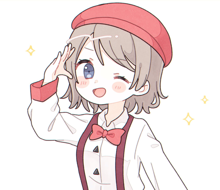 1girl :d ;d beret blue_eyes blush_stickers bow bowtie collared_shirt genki_zenkai_day!_day!_day! hat highres long_sleeves love_live! love_live!_sunshine!! one_eye_closed open_mouth red_headwear red_neckwear salute shirt simple_background smile solo sparkle suspenders upper_body watanabe_you white_background white_shirt yashino_84