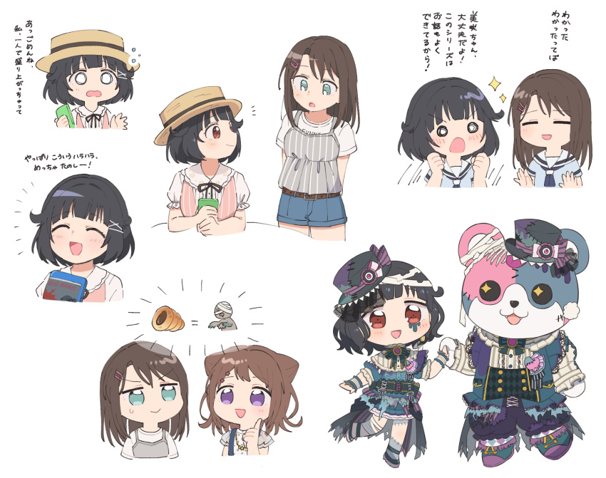 3girls :d arms_up bang_dream! bangs bd_ayknn belt black_hair blue_eyes blue_neckwear bone bow bowtie brand_name_imitation brown_hair chocolate_cornet clenched_hands commentary_request denim denim_shorts double-breasted dress fangs food frills grey_shirt hair_flaps hair_ornament hanasakigawa_school_uniform hat heart highres holding holding_hands index_finger_raised michelle_(bang_dream!) multiple_girls multiple_views neckerchief o_o okusawa_misaki open_mouth pink_shirt red_eyes resident_evil school_uniform serafuku shirt short_hair short_shorts short_sleeves shorts smile sparkle standing star star_hair_ornament stitches striped striped_neckwear sweatdrop toyama_kasumi translation_request ushigome_rimi v-shaped_eyebrows vertical_stripes violet_eyes white_background white_shirt wrist_cuffs zombie