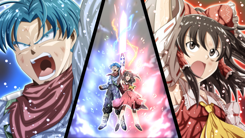 1boy 1girl aura blue_eyes blue_hair brown_eyes brown_gloves brown_hair commentary_request crossover detached_sleeves dirty dragon_ball dragon_ball_super electricity energy_sword frilled_skirt frills gloves hakurei_reimu highres jacket neckerchief nontraditional_miko ohoho open_mouth red_skirt ribbon-trimmed_sleeves ribbon_trim skirt sword touhou trunks_(future)_(dragon_ball) weapon wide_sleeves