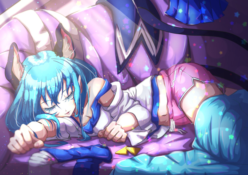 1girl animal_ear_fluff animal_ears blue_hair cat_ears cat_tail closed_eyes hair_between_eyes highres indoors lens_flare long_hair long_sleeves lying midriff navel off_shoulder on_side parted_lips pink_shorts precure precure_cure_moonlight shirt short_shorts shorts sketch sleeping solo star_twinkle_precure stomach sunlight tail white_shirt yuni_(precure)