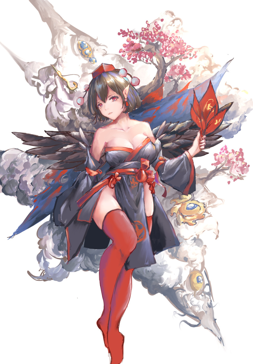 1girl absurdres alternate_costume bare_shoulders black_hair black_kimono cherry_blossoms commentary_request detached_sleeves fan hair_between_eyes hat highres holding holding_fan japanese_clothes kimono leaf_fan long_sleeves looking_at_viewer marcowwine no_shoes pelvic_curtain pointy_ears pom_pom_(clothes) red_eyes red_legwear red_sash sash shameimaru_aya short_hair simple_background solo strapless thigh-highs thighs tokin_hat touhou tree white_background wide_sleeves