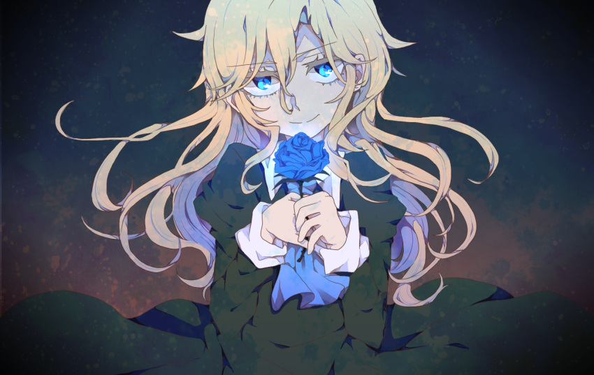 1girl alice-whiteberry blonde_hair blue_eyes blue_flower blue_rose closed_mouth dress flower ib long_hair looking_at_viewer mary_(ib) rose smile solo