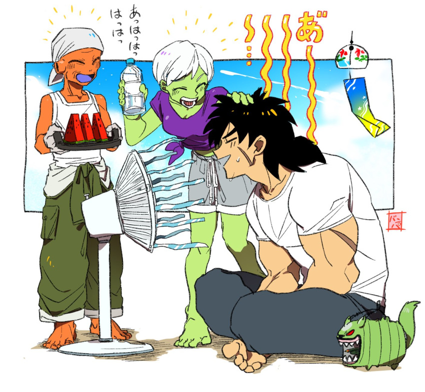 >_< +++ 1girl 2boys :d ^_^ bah_(dragon_ball) bandana bare_legs barefoot black_hair blue_sky blush bottle broly_(dragon_ball_super) cheelai closed_eyes clouds cloudy_sky commentary_request crossed_legs day dragon_ball dragon_ball_super_broly electric_fan fan fanning_face food fruit full_body gloves green_pants green_skin grey_shorts hand_on_another's_head highres holding holding_bottle holding_tray leaning lemo_(dragon_ball) midriff multiple_boys objectification open_mouth orange_skin pants profile purple_shirt sakaikurinea shirt short_hair shorts simple_background sitting sky sleeveless sleeveless_shirt smile standing streamers summer sweat sweatdrop sweatpants teeth tied_shirt tongue translation_request tray water_bottle watermelon white_background white_hair white_shirt wind_chime