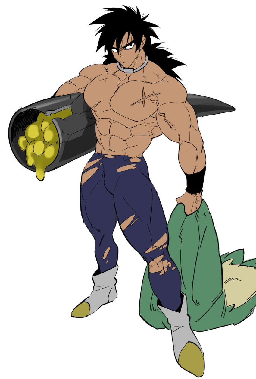 1boy :/ abs black_eyes black_hair blue_legwear boots broly_(dragon_ball_super) carrying carrying_under_arm chest_scar dark_skin dark_skinned_male dragon_ball dragon_ball_super_broly frown full_body highres holding_clothes jewelry legs_apart long_hair looking_away male_focus muscle neck_ring no_nipples scar shirtless simple_background spiky_hair torawar torn_clothes torn_legwear veins white_background white_footwear wristband