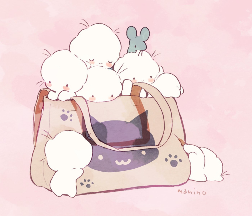 ._. 6+others afro ambiguous_gender animal bag blush_stickers closed_mouth commentary_request handbag highres in_bag in_container manino_(mofuritaionaka) mouse multiple_others no_humans original paw_print pink_background signature smile u_u