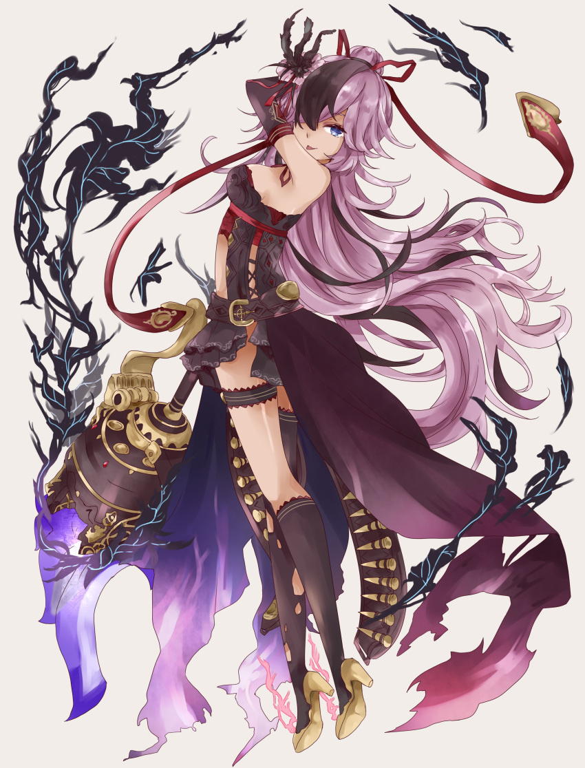 1girl :p absurdres arm_up bangs bare_shoulders black_dress black_gloves black_hair blue_eyes brown_footwear brown_legwear cinderella_(sinoalice) closed_mouth commentary_request dress elbow_gloves eyebrows_visible_through_hair full_body gloves grey_background hair_bun hair_over_one_eye hair_ribbon high_heels highres kneehighs looking_at_viewer looking_to_the_side multicolored_hair purple_hair red_ribbon ribbon shoe_soles single_kneehigh single_thighhigh sinoalice sleeveless sleeveless_dress smile solo thigh-highs tongue tongue_out torn_clothes torn_legwear tsukiyo_(skymint) two-tone_hair