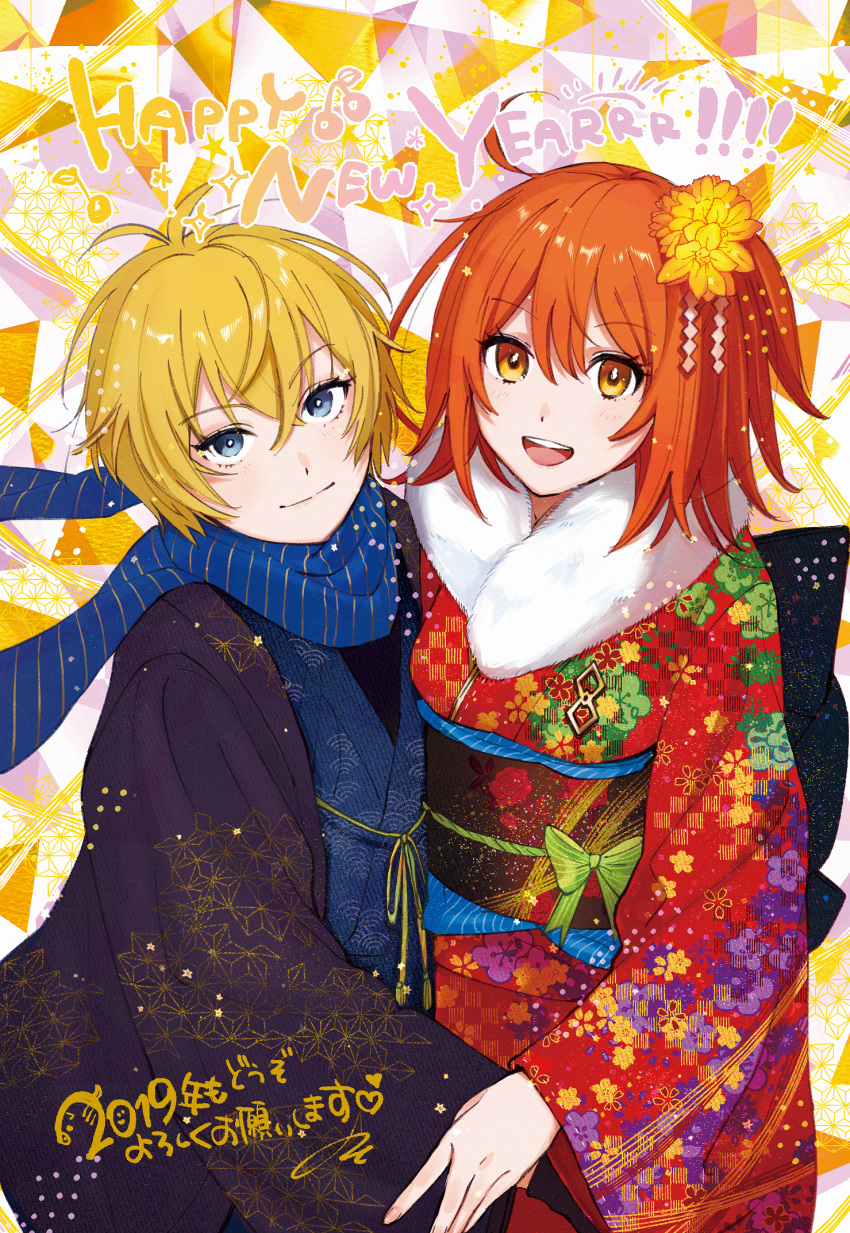 1boy 1girl ahoge antenna_hair billy_the_kid_(fate/grand_order) blonde_hair blue_eyes blue_scarf bow commentary_request eyebrows_visible_through_hair fate/grand_order fate_(series) flower fujimaru_ritsuka_(female) fur_trim green_bow hair_between_eyes hair_ornament happy_new_year highres japanese_clothes junktokarev kimono looking_at_viewer multicolored multicolored_clothes multicolored_kimono new_year orange_eyes orange_flower orange_hair scarf short_hair smile