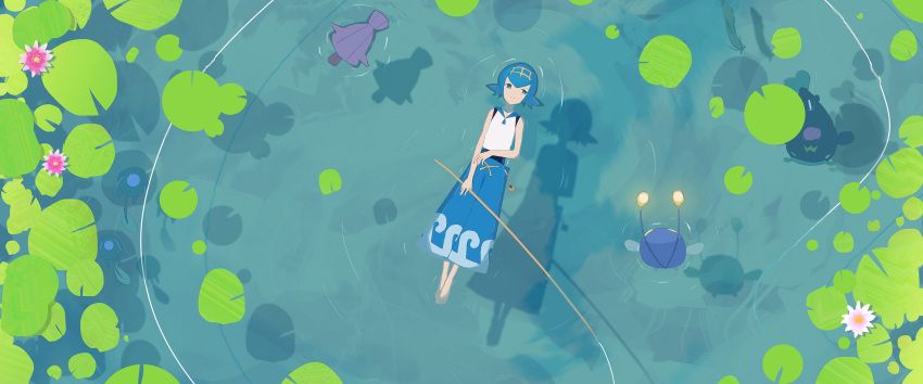 1girl afloat asteroid_ill baggy_pants barboach barefoot blue_hair chinchou commentary_request fishing_line fishing_rod hair_ornament highres lighting pants pokemon pokemon_(creature) pokemon_(game) pokemon_sm ripples shadow shellder sleeveless smile suiren_(pokemon) trial_captain tympole water_drop whiscash