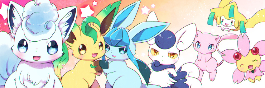 :3 alolan_form alolan_vulpix blue_eyes blue_hair blue_sclera blush cherubi chromatic_aberration closed_eyes closed_mouth fang flying gen_1_pokemon gen_3_pokemon gen_4_pokemon gen_6_pokemon gen_7_pokemon glaceon gradient gradient_background hands_on_hips happy holding_hands jirachi kemoribon leafeon legendary_pokemon light_blush looking_at_viewer meowstic mew multiple_tails no_humans open_mouth orange_background orange_eyes paws pokemon pokemon_(creature) red_eyes shiny shiny_hair short_hair simple_background sitting smile standing star tail two_tails yellow_sclera
