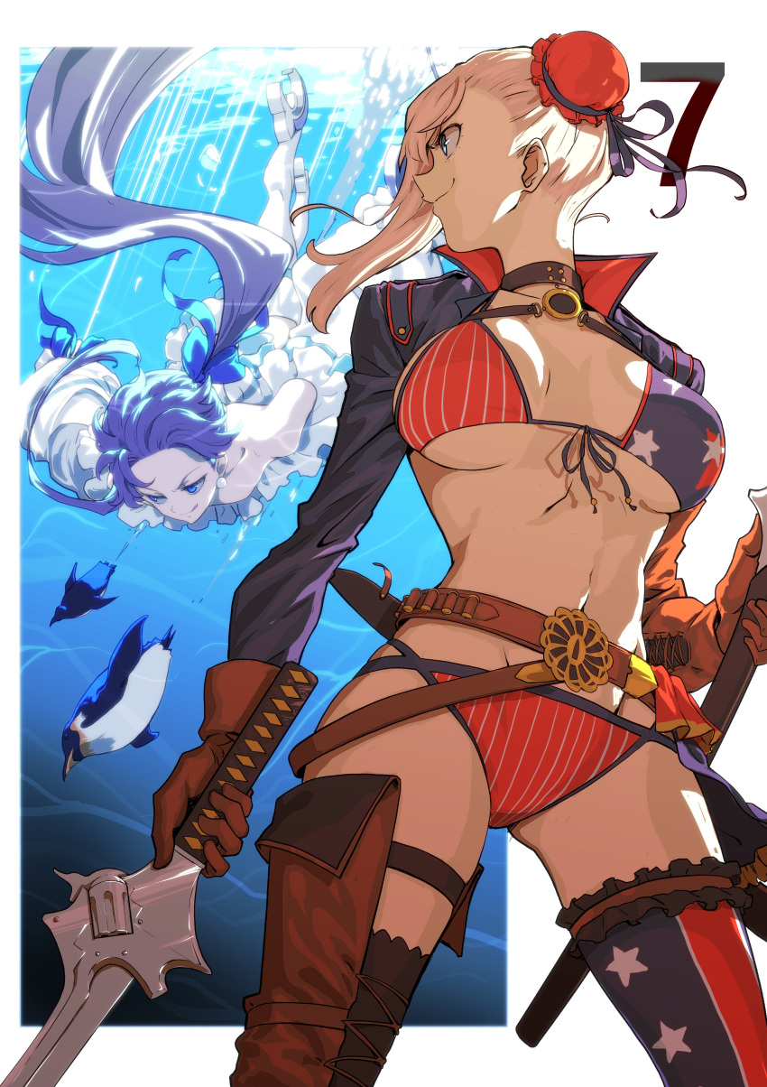absurdres after_(artist) american_flag_bikini belt bikini bird blue_eyes breasts bun_cover choker diving fate/grand_order fate_(series) flag_print gloves hair_bun highres jacket large_breasts looking_to_the_side meltryllis meltryllis_(swimsuit_lancer)_(fate) miyamoto_musashi_(fate/grand_order) miyamoto_musashi_(swimsuit_berserker)_(fate) penguin pink_hair smile swimsuit sword thigh-highs weapon