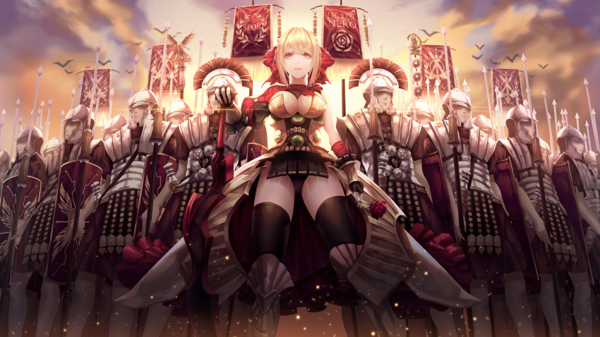 1girl 6+boys absurdres aestus_estus armored_boots army bangs black_legwear black_leotard blonde_hair boots breasts breasts_outside center_opening fate/extra fate/extra_ccc fate/grand_order fate_(series) flower gem green_eyes highres large_breasts leotard long_sleeves looking_at_viewer multiple_boys nero_claudius_(fate) nero_claudius_(fate)_(all) polearm puffy_long_sleeves puffy_sleeves red_flower red_rose rene_hong rose single_sleeve sky spear standing sun thigh-highs weapon