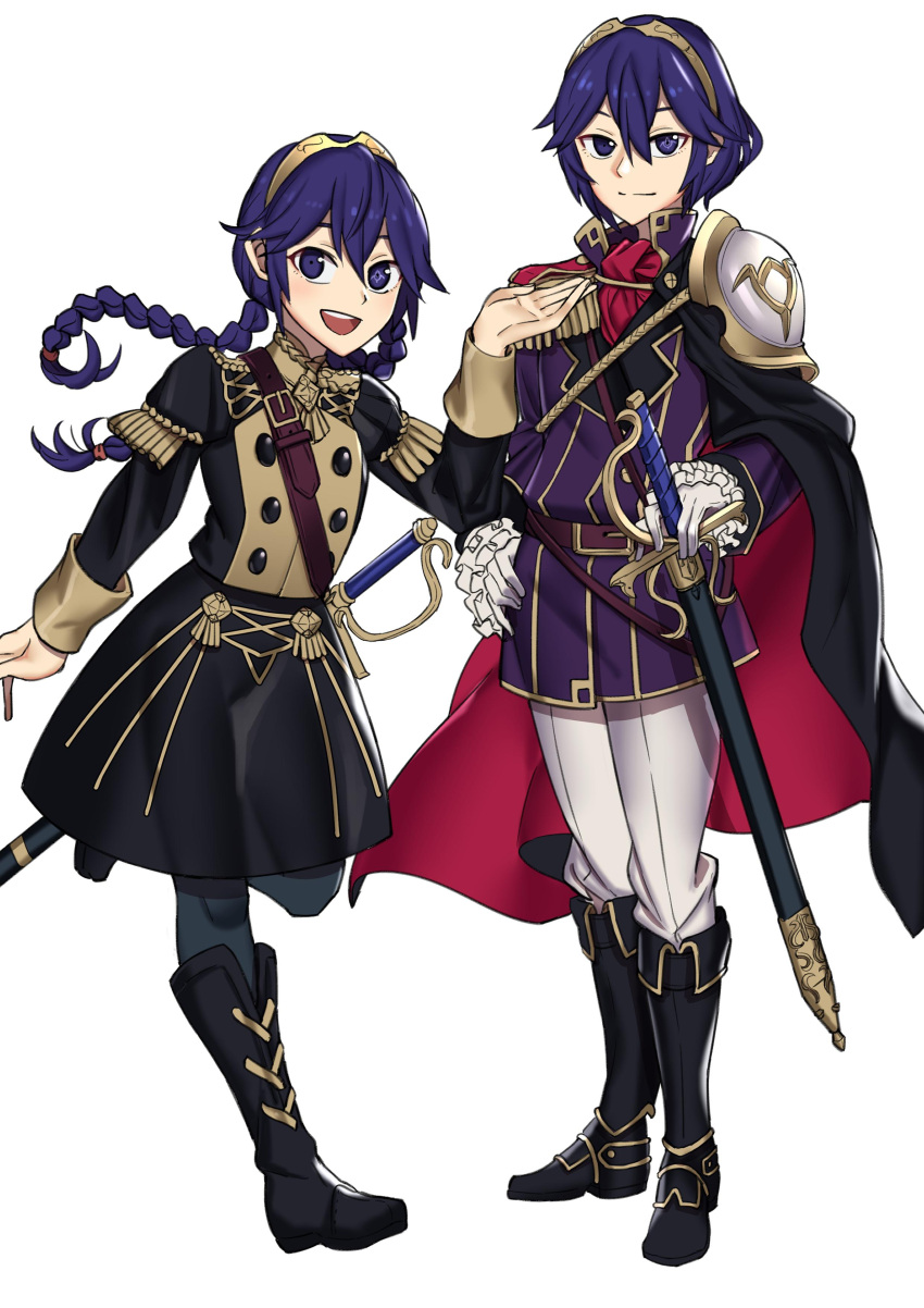 1girl absurdres age_comparison belt blue_hair boots cape cosplay_request cute dual_persona ebinku fire_emblem fire_emblem:_fuukasetsugetsu fire_emblem:_kakusei fire_emblem:_three_houses fire_emblem_awakening highres intelligent_systems koei_tecmo lucina lucina_(fire_emblem) multiple_girls multiple_persona nintendo older pauldrons super_smash_bros. sword tiara twintails uniform weapon younger