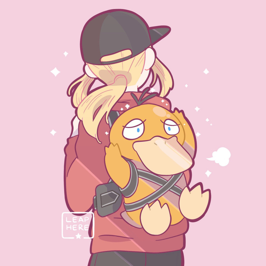 1girl baseball_cap black_headwear creature detective_pikachu detective_pikachu_(movie) from_behind gen_1_pokemon hat highres long_sleeves lucy_stevens pink_background pokemon pokemon_(creature) ponytail psyduck signature simple_background sweater yamato-leaphere