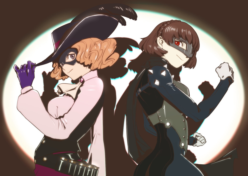 2girls atlus back-to-back belt bodysuit brown_hair chromatic_aberration cravat curly_hair domino_mask feathers gloves hat hat_tip highres mask megami_tensei multiple_girls niijima_makoto okumura_haru persona persona_5 persona_5_the_royal pose puffy_sleeves purple_gloves queen_(persona) rikurikuriku555 scarf shadow short_hair shoulder_spikes spikes spotlight waistcoat white_gloves
