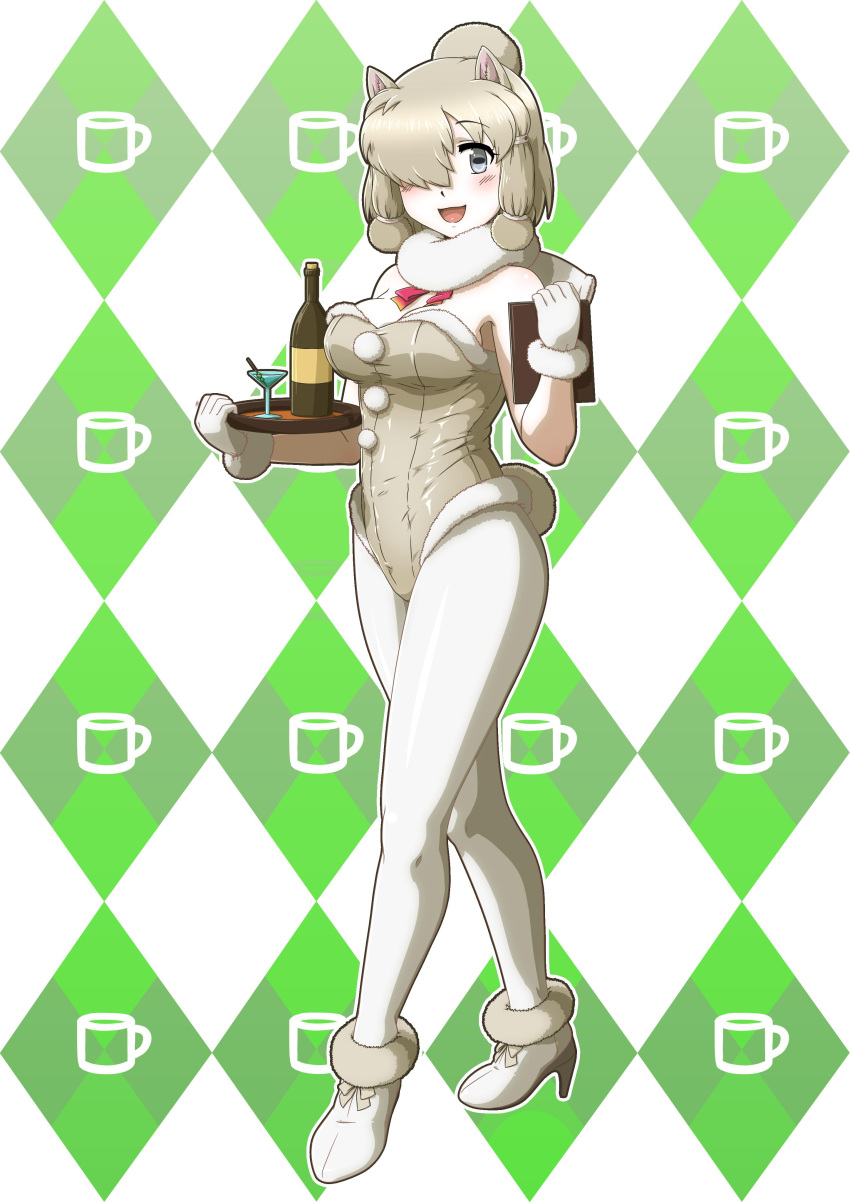 1girl absurdres acesrulez adapted_costume alpaca_ears alpaca_suri_(kemono_friends) animal_ears bare_shoulders blue_eyes blush bottle cocktail_glass commentary_request cup drinking_glass eyebrows_visible_through_hair fur_collar fur_trim gloves hair_bun hair_over_one_eye hair_tie hair_tubes high_heels highres kemono_friends leotard neck_ribbon pantyhose playboy_bunny_leotard ribbon short_hair sleeveless solo tray white_gloves white_hair white_legwear wine_bottle