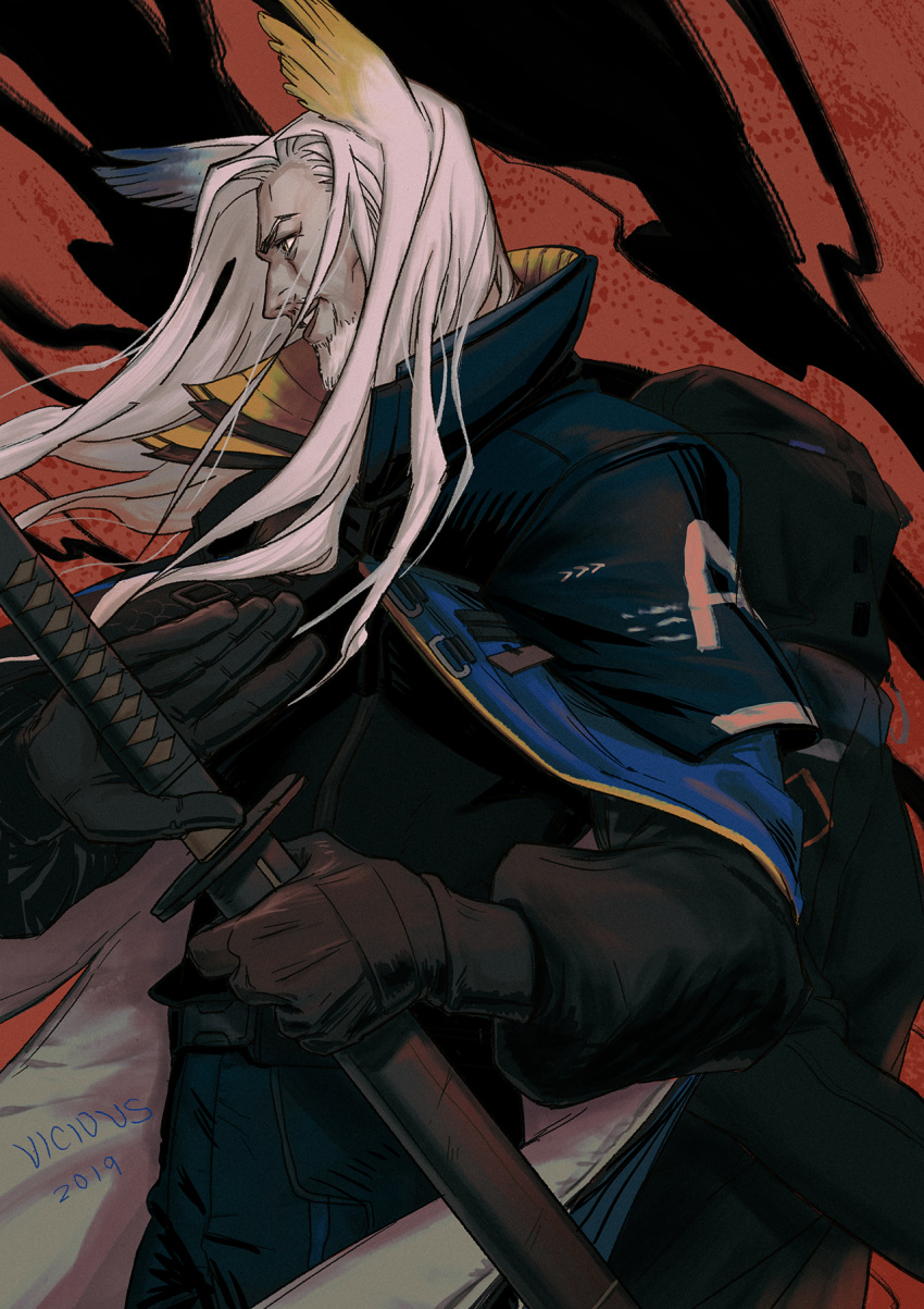 1boy animal_ears arknights artist_name bag beard black_gloves brown_eyes dated facial_hair gloves hellagur highres holding holding_sword holding_weapon katana long_hair male_focus old_man parted_lips profile red_background solo sword very_long_hair weapon white_hair