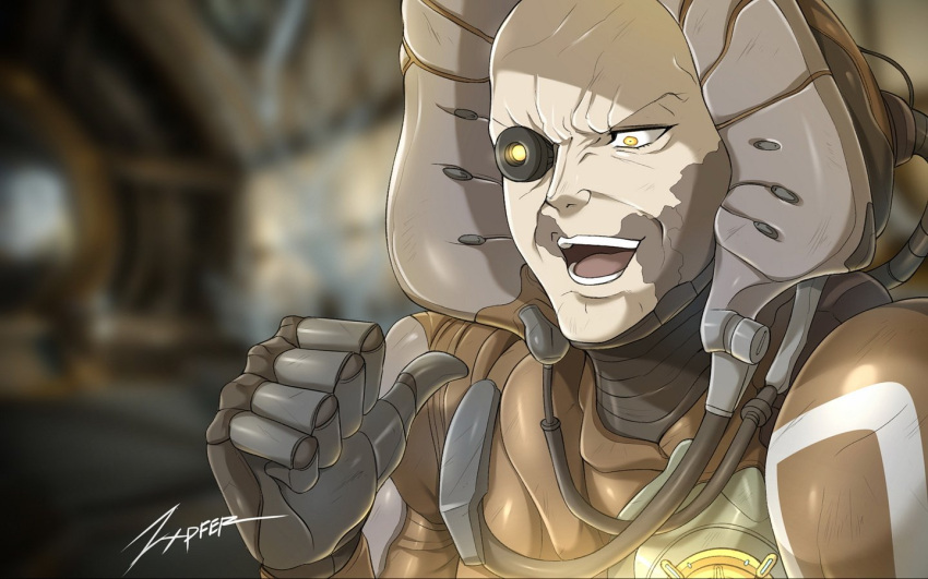 1boy armor bald cable captain_vor commentary deflect glowing glowing_eye jojo_no_kimyou_na_bouken kono_dio_da male_focus mechanical_parts meme old_man open_mouth parody pointing pointing_at_self smile solo teeth warframe yellow_eyes zxpfer