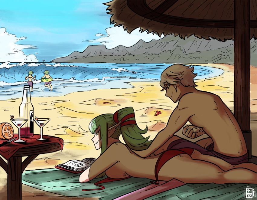 2boys 2girls alcohol back beach_umbrella bikini bikini_top_removed blue_sky book bottle breasts chiki cocktail_glass couple cup dragon_girl drinking_glass elf family female_swimwear fire_emblem fire_emblem:_kakusei fire_emblem_awakening fire_emblem_heroes green_hair highres human husband_and_wife innertube intelligent_systems lotion love male_my_unit_(fire_emblem:_kakusei) male_swimwear manakete morgan_(fire_emblem) morgan_(fire_emblem)_(female) morgan_(fire_emblem)_(male) multiple_boys multiple_girls my_unit_(fire_emblem:_kakusei) nintendo ocean pointy_ears ponytail reading red_bikini reflet reflet_(boy) robin_(fire_emblem) robin_(fire_emblem)_(male) rubbing sand scruffyturtles seashell shade shell short_hair siblings sideboob silver_hair sky smile summer summer_scramble sunscreen swim_trunks swimsuit swimwear teenage tiki_(fire_emblem) umbrella untied untied_bikini waves