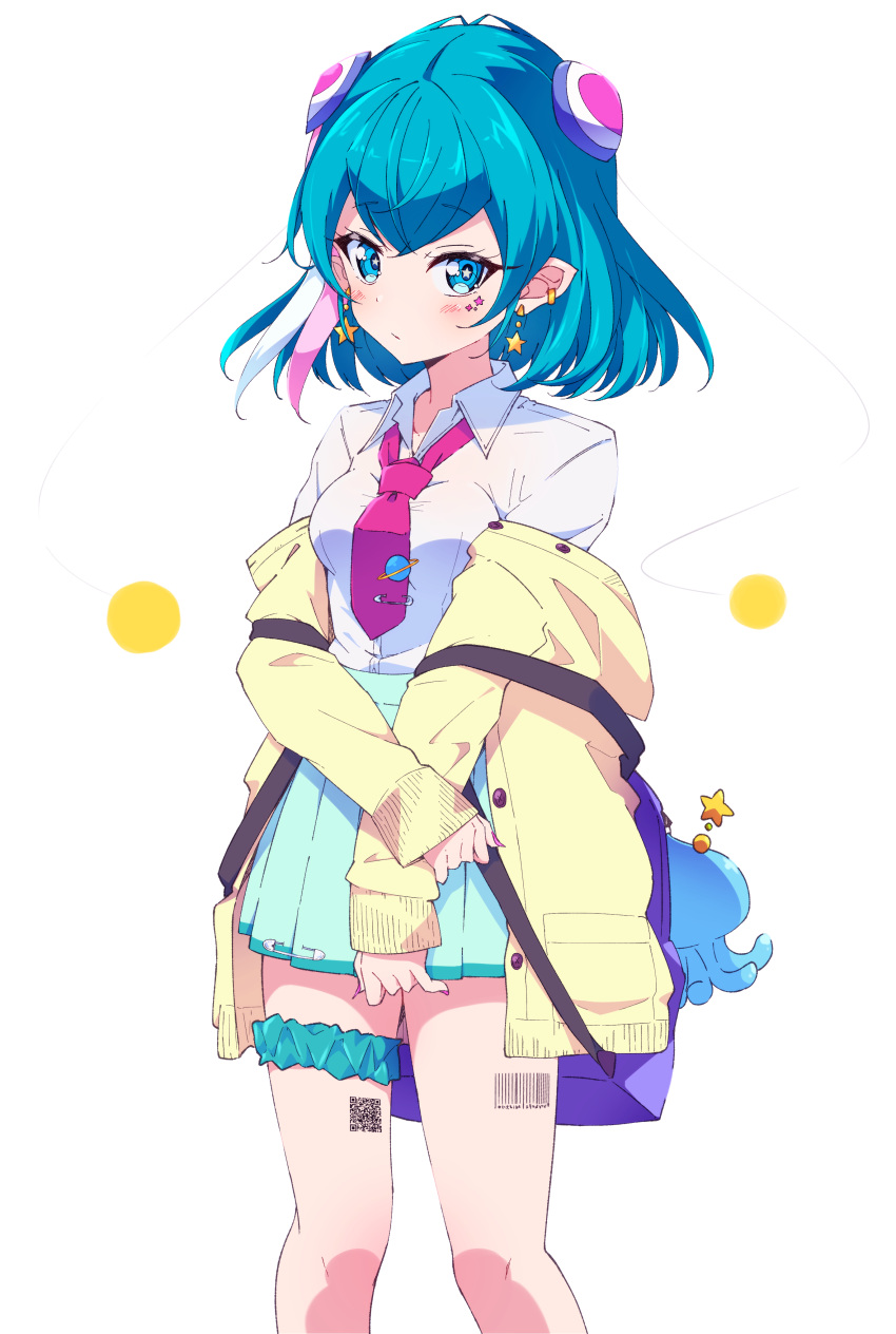 1girl absurdres backpack bag bangs barcode_tattoo blue_eyes blue_hair bokkun_(doyagaobyo) closed_mouth commentary_request ear_piercing earrings expressionless eyebrows_visible_through_hair facial_mark green_scrunchie green_skirt gyaru hagoromo_lala hair_between_eyes hair_ornament high-waist_skirt highres holding_arm jacket jewelry kogal long_sleeves looking_at_viewer loose_necktie medium_hair multicolored_hair necktie off_shoulder open_clothes open_jacket piercing pink_nails pink_neckwear pleated_skirt pointy_ears precure prunce_(precure) qr_code safety_pin scrunchie shiny shiny_hair shirt simple_background skirt sleeves_past_wrists solo standing star star-shaped_pupils star_earrings star_twinkle_precure streaked_hair stuffed_animal stuffed_toy symbol-shaped_pupils tattoo thigh_scrunchie white_background white_shirt wing_collar yellow_jacket