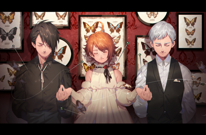 1girl 2boys arm_behind_head bangs bare_shoulders black_hair black_shirt black_vest boy_sandwich brown_hair bug butterfly closed_eyes closed_mouth collared_shirt corsage detached_sleeves dress dress_shirt emma_(yakusoku_no_neverland) facing_viewer flower framed_insect grey_hair head_tilt holding_hand insect j_315_(jean) letterboxed multiple_boys neck_tattoo norman_(yakusoku_no_neverland) number orange_hair outstretched_hand picture_frame pin pinned ray_(yakusoku_no_neverland) red_flower red_rose ribbon_trim rose sandwiched shirt stabbed string swept_bangs tattoo upper_body vest waistcoat wallpaper_(object) white_dress white_neckwear white_shirt yakusoku_no_neverland