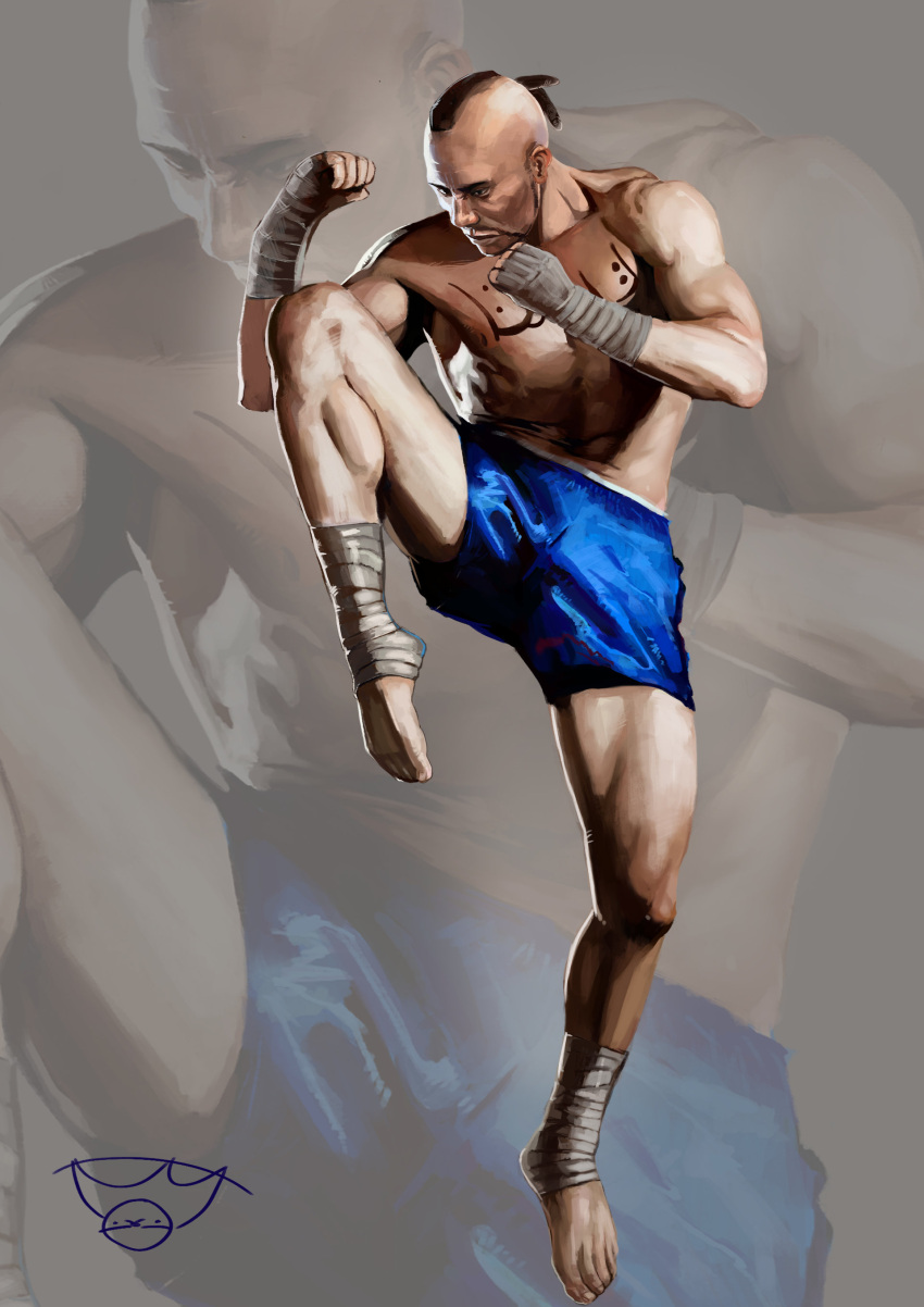 1boy absurdres arm_wrap aslothbeing barefoot blue_shorts bruce_irvin clenched_hand facial_hair highres leg_lift male_focus mohawk muay_thai shirtless shorts standing standing_on_one_leg tattoo tekken zoom_layer