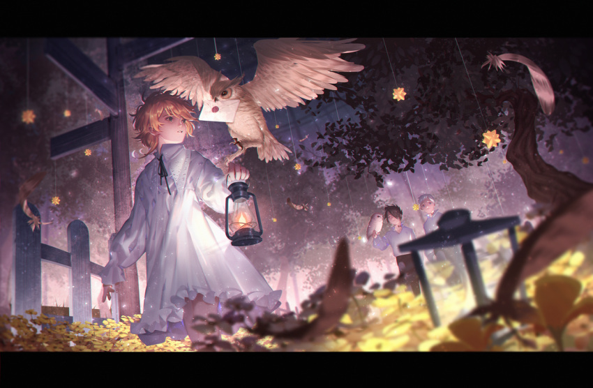 1girl 2boys arm_at_side bangs beak_hold bird bird_on_hand black_hair black_neckwear black_pants black_ribbon blurry collared_shirt commentary depth_of_field dress dutch_angle emma_(yakusoku_no_neverland) envelope feathers fence flat_chest frilled_dress frills hair_over_one_eye j_315_(jean) lace lamp letterboxed long_sleeves looking_at_another looking_at_viewer looking_to_the_side multiple_boys neck_ribbon neck_tattoo norman_(yakusoku_no_neverland) number orange_hair outstretched_arm owl pajamas pants parted_lips plant polo_shirt ray_(yakusoku_no_neverland) ribbon road_sign shirt short_hair sign standing star string swept_bangs tattoo tree walking white_dress wooden_fence yakusoku_no_neverland