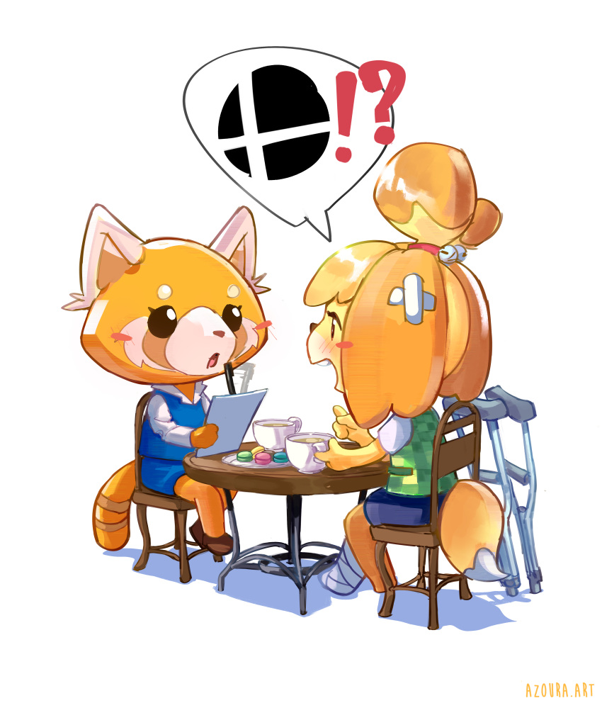 !? 2girls absurdres aggressive_retsuko animal animal_crossing animal_crossing:_new_leaf animal_ears artist_name azoura bell blonde_hair blue_skirt blush brown_footwear cast crutch cup dog dog_ears dog_girl dog_tail doubutsu_no_mori eye_contact food furry green_vest hairband highres isabelle_(animal_crosing) long_sleeves looking_at_another macaron multiple_girls nintendo nintendo_ead no_humans open_mouth pen pencil_skirt red_hairband red_panda retsuko shadow shizue_(doubutsu_no_mori) simple_background sitting skirt smash_ball speech_bubble spoken_interrobang super_smash_bros. table tail tea teacup tobidase:_doubutsu_no_mori topknot vest white_background writing