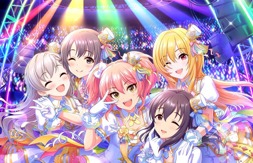 blush brown_eyes character_name group idolmaster idolmaster_cinderella_girls jougasaki_mika long_hair pink_hair shirt smile stars