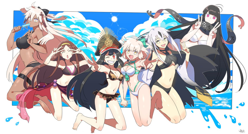 6+girls ahoge bikini black_hair blonde_hair blue_sky breasts brown_hair chacha_(fate/grand_order) clouds criss-cross_halter dark_skin detached_sleeves double_v eating fate/grand_order fate_(series) food grin halterneck highres holding_hands large_breasts medium_breasts multicolored_hair multiple_girls nagao_kagetora_(fate) navel oda_nobunaga_(swimsuit_berserker)_(fate) okita_souji_(alter)_(fate) okita_souji_(fate)_(all) okita_souji_(swimsuit_assassin)_(fate) oryou_(fate) pink_eyes pirohi_(pirohi214) popsicle red_eyes scarf sky small_breasts smile sun swimsuit two-tone_hair v white_hair yellow_eyes