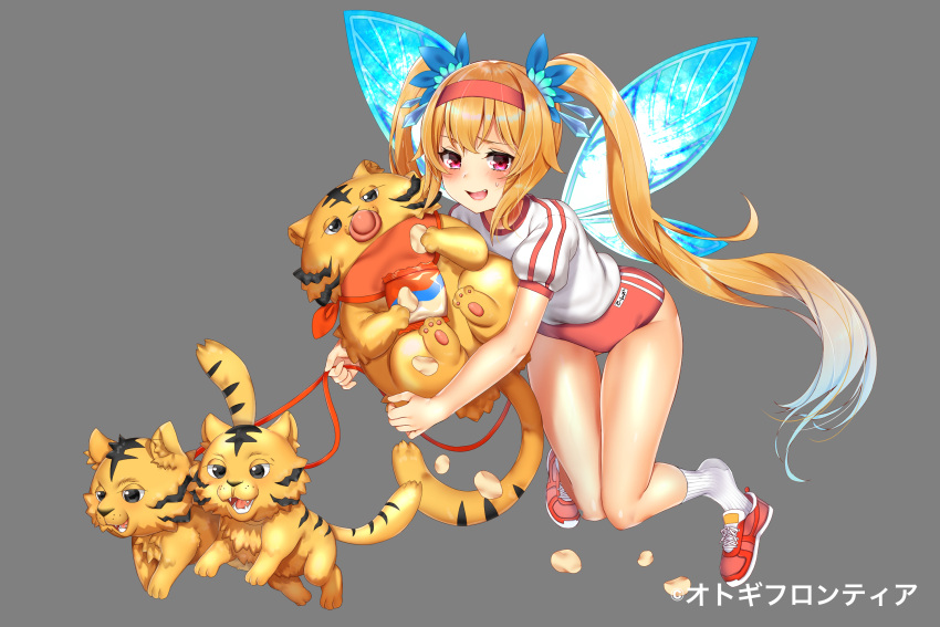 1girl :d animal ass_visible_through_thighs bag_of_chips bangs blonde_hair blue_hair blue_wings blush buruma buta_tamako character_request chips crystal eyebrows_visible_through_hair fairy_wings fang food gradient_hair grey_background groin gym_shirt gym_uniform hairband highres holding holding_animal holding_leash leaning_forward leash long_hair looking_at_viewer multicolored_hair official_art open_mouth otogi_frontier potato_chips puffy_short_sleeves puffy_sleeves red_buruma red_footwear red_hairband ribbed_legwear shirt shoes short_sleeves sidelocks simple_background smile sneakers socks solo sweat twintails very_long_hair violet_eyes watermark white_legwear white_shirt wings