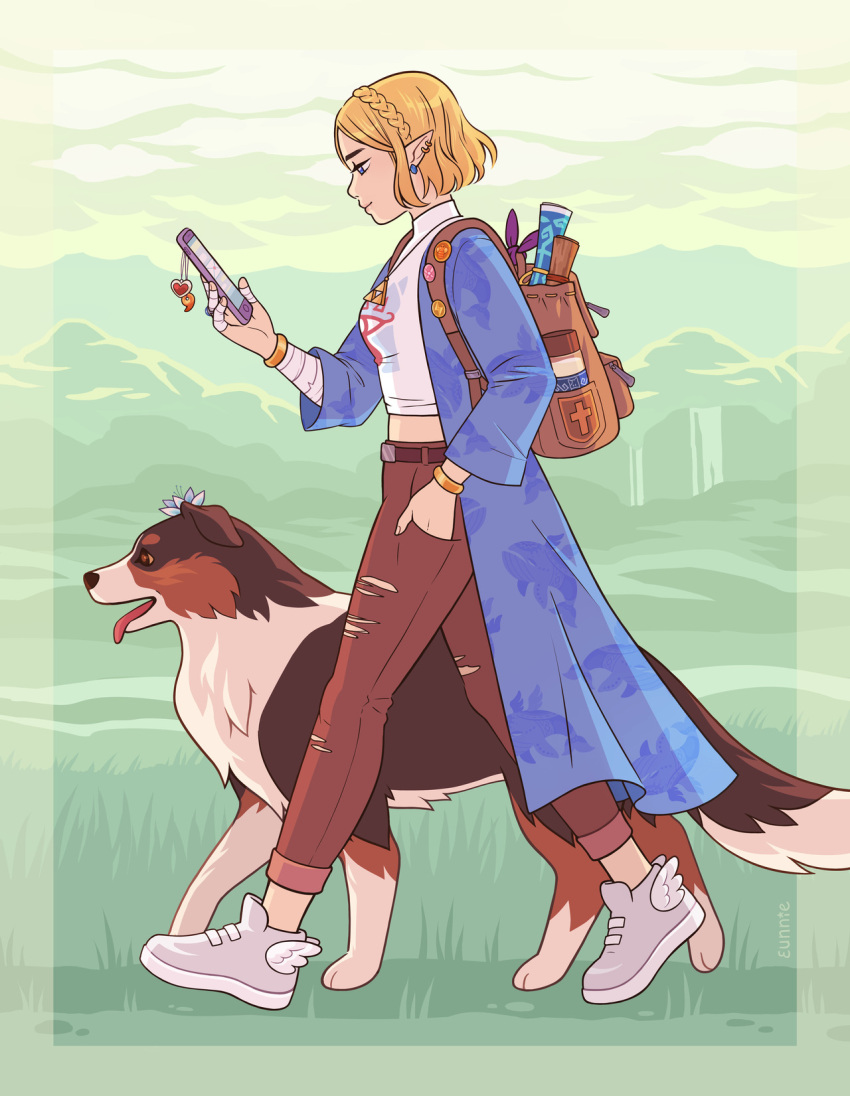 1girl ankle_wings backpack bag bandaged_fingers bandages blonde_hair blue_eyes bracelet braid breasts cellphone collie_(dog) commentary contemporary denim dog ear_piercing earrings english_commentary eunnieboo french_braid from_side hand_in_pocket highres jeans jewelry long_coat map pants phone piercing pointy_ears princess_zelda shoes short_hair smartphone sneakers solo the_legend_of_zelda the_legend_of_zelda:_breath_of_the_wild the_legend_of_zelda:_breath_of_the_wild_2 torn_clothes torn_jeans torn_pants walking