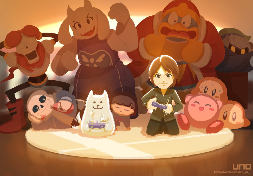 1girl 1other 5boys animal annoying_dog artist_self-insert black_shirt brown_hair cheering crossover dog dress frisk_(undertale) gamecube_controller gloves hands_on_own_head highres hood hoodie ketchup king_dedede kirby kirby_(series) looking_at_another lying meta_knight multiple_boys on_side papyrus_(undertale) playing_games real_life red_gloves red_scarf rug sakurai_masahiro sans scarf seiza shirt sitting skeleton super_smash_bros. sweat toriel twitter_username undertale uno_yuuji waddle_dee