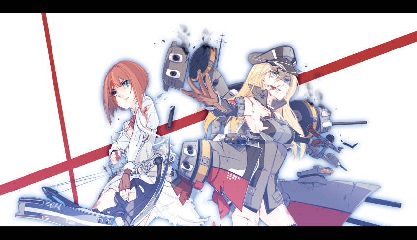 2girls absurdres anbo ark_royal_(kantai_collection) bangs bismarck_(kantai_collection) bleeding blonde_hair blood blood_from_mouth blood_on_face blood_stain bloody_clothes blue_eyes blunt_bangs bob_cut bow_(weapon) breastplate cannon composite_bow compound_bow corset cuts damaged dress fingerless_gloves flight_deck flower gloves hairband hat highres huge_filesize injury jacket kantai_collection long_hair long_sleeves machinery multiple_girls off-shoulder_dress off_shoulder overskirt peaked_cap quiver red_flower red_ribbon red_rose redhead ribbon rose short_hair shorts tiara torn_clothes tsurime turret uniform weapon white_corset white_shorts