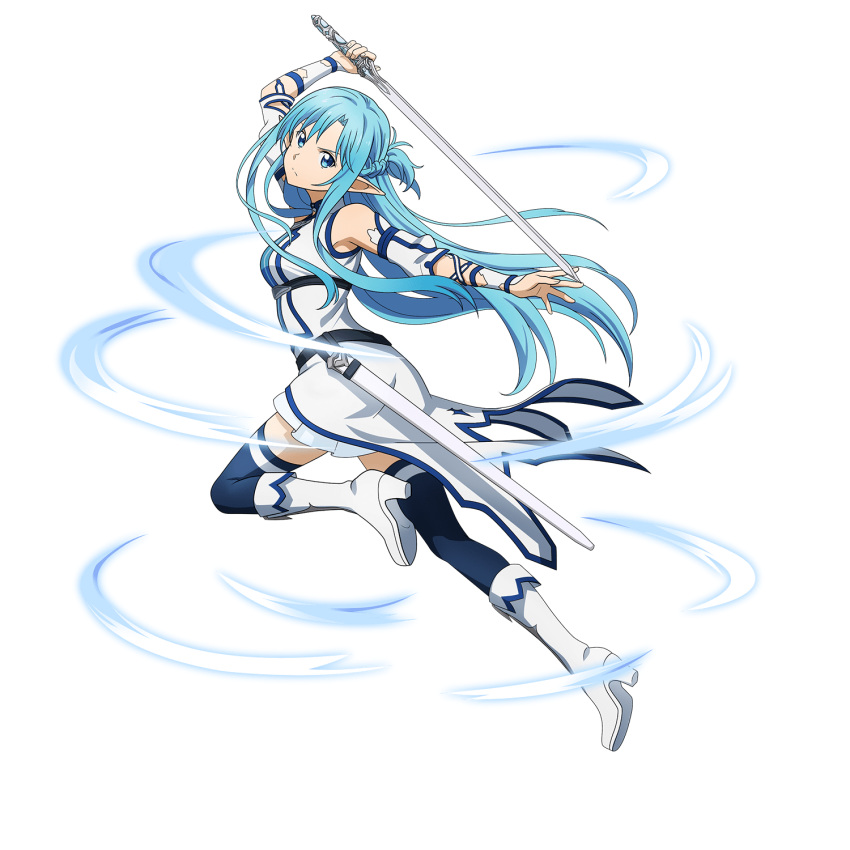 1girl arm_up asuna_(sao-alo) blue_eyes blue_hair blue_legwear boots braid crown_braid detached_sleeves dress floating_hair frown full_body highres holding holding_sword holding_weapon knee_boots leg_up long_hair looking_at_viewer official_art pointy_ears running sheath short_dress short_sleeves solo sword sword_art_online thigh-highs transparent_background very_long_hair weapon white_dress white_footwear white_sleeves zettai_ryouiki