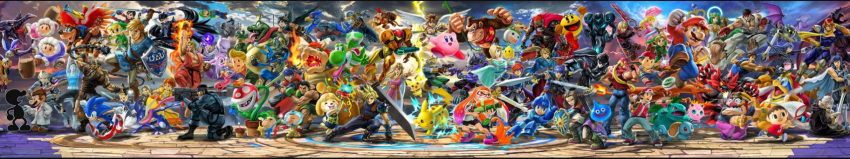 amamiya_ren androgynous animal ape armor bandages banjo banjo-kazooie banjo_(banjo-kazooie) bare_shoulders bayonetta bayonetta_(character) bayonetta_2 bead_necklace beads bike_shorts bird black_hair blonde_hair blue_bodysuit blue_eyes blue_hair bodysuit bomber_jacket bowser bowser_jr. bracer braid breasts brothers brown_hair buster_sword cape captain_falcon castlevania castlevania:_rondo_of_blood chiko_(mario) chrom_(fire_emblem) cloud_strife corrin_(fire_emblem) corrin_(fire_emblem)_(male) crown dark_pit dark_samus dark_skin denim diddy_kong dog dog_(duck_hunt) dog_girl domino_mask donkey_kong donkey_kong_(series) donkey_kong_country doubutsu_no_mori dougi dr._mario dr._mario_(game) dragon_quest dragon_quest_xi dress duck_(duck_hunt) duck_hunt earrings elbow_gloves electricity f-zero facial_hair falchion_(fire_emblem) falco_lombardi family_computer_robot fatal_fury father_and_daughter final_fantasy final_fantasy_vii fingerless_gloves fire fire_emblem fire_emblem:_path_of_radiance fire_emblem:_the_binding_blade fire_emblem_awakening fire_emblem_fates fox fox_mccloud fox_tail fukuyama_jun furry ganondorf gen_2_pokemon gen_4_pokemon gen_7_pokemon glasses gloves green_eyes green_hair greninja gun hair_ornament hat headband hero_(dq11) highres hood ice_climber ike_(fire_emblem) impossible_bodysuit impossible_clothes incineroar ink_tank_(splatoon) inkling instrument ivysaur jacket jeans jewelry kazooie_(banjo-kazooie) ken_masters kid_icarus king_dedede king_k._rool legendary_pokemon link lips lipstick little_mac long_hair long_image looking_at_viewer lucas lucina_(fire_emblem) luigi makeup manakete mario mario_(series) marth_(fire_emblem) mask master_sword metroid metroid_prime mewtwo mole mole_under_mouth monado monster morgana_(persona_5) mother_(game) mother_2 mother_3 mr._game_&_watch multiple_boys multiple_girls muscle mustache nana_(ice_climber) necklace ness official_art olimar ootani_ikue open_mouth overalls pac-man palutena pants pantyhose persona persona_5 pich