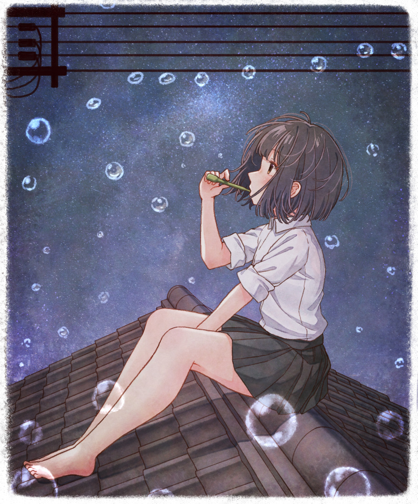 1girl absurdres barefoot black_hair black_skirt brown_eyes bubble bubble_blowing collared_shirt eyebrows_visible_through_hair from_side highres huge_filesize looking_away night night_sky original outdoors rooftop school_uniform shirt short_sleeves sitting skirt sky sleeves_rolled_up solo star_(sky) starry_sky tanbonota46