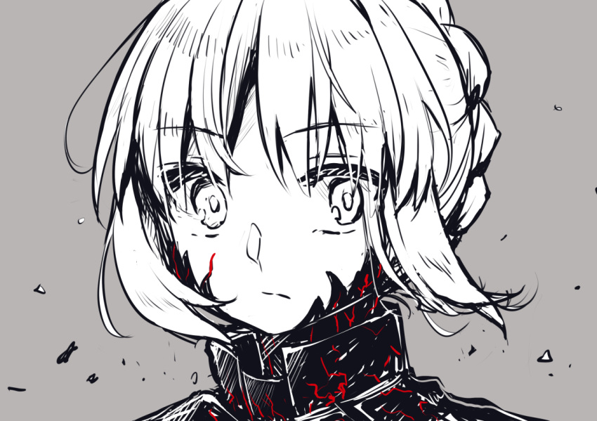 1girl aizawa85 artoria_pendragon_(all) bangs braid commentary_request eyebrows_visible_through_hair face fate/stay_night fate_(series) frown grey_background greyscale looking_at_viewer medium_hair monochrome saber_alter sketch solo tagme