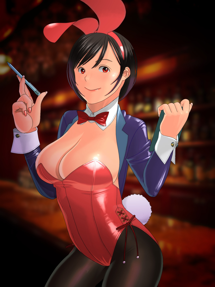 1girl animal_ears bar black_hair black_legwear blazer blue_jacket blurry bow bowtie breasts bunny_girl bunny_tail bunnysuit clipboard commentary_request cowboy_shot depth_of_field detached_collar highres indoors jacket large_breasts leotard looking_at_viewer nokaze_koyama original pantyhose pen rabbit_ears red_eyes red_leotard red_neckwear short_ponytail solo strapless strapless_leotard tail wrist_cuffs