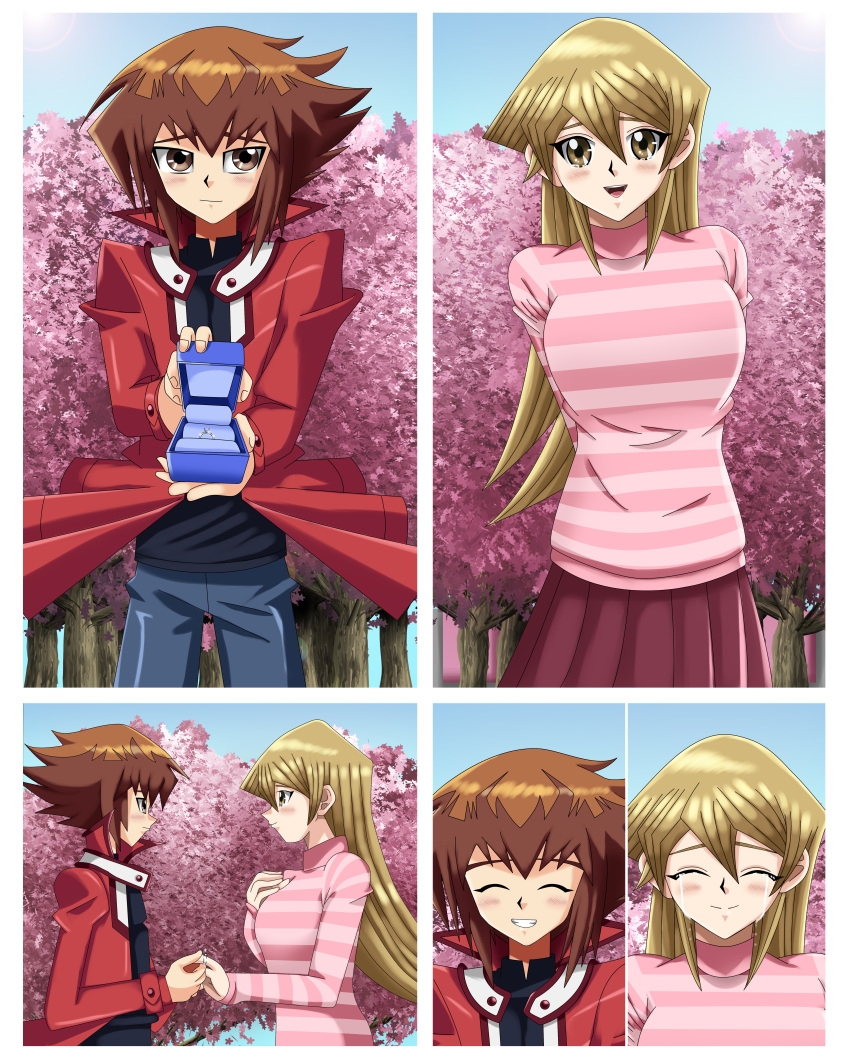 1boy 1girl amber_eyes arms_behind_back blonde_hair blush brown_eyes brown_hair comic couple deviantart happy pink_dress red_jacket ring sakura_tree short_hair sincity2100 smile tears tenjouin_asuka yu-gi-oh! yuu-gi-ou yuu-gi-ou_gx yuuki_juudai