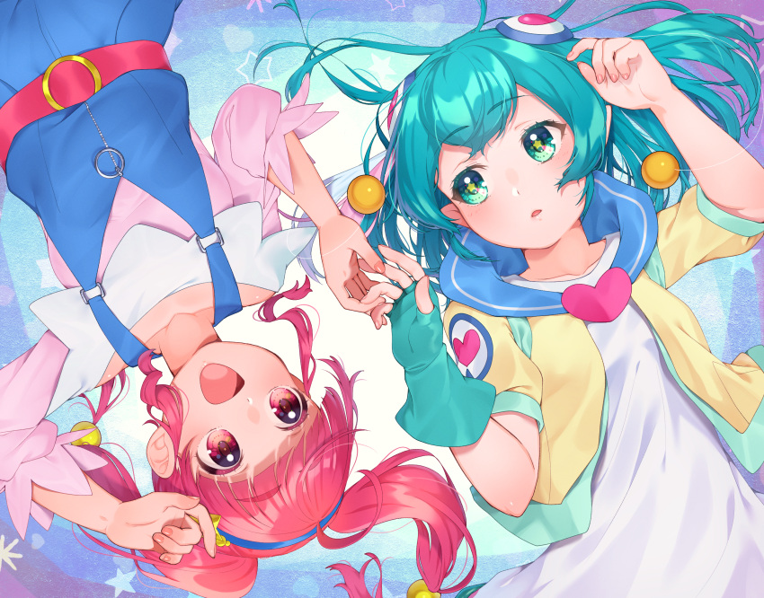 2girls :d absurdres aqua_eyes aqua_gloves aqua_hair collarbone eyebrows_visible_through_hair gloves hagoromo_lala hair_ornament heart highres hoshina_hikaru huge_filesize long_sleeves looking_at_another multiple_girls open_mouth pink_eyes pointy_ears precure red_eyes redhead short_hair short_sleeves single_glove smile star star-shaped_pupils star_twinkle_precure symbol-shaped_pupils twintails upside-down yupiteru