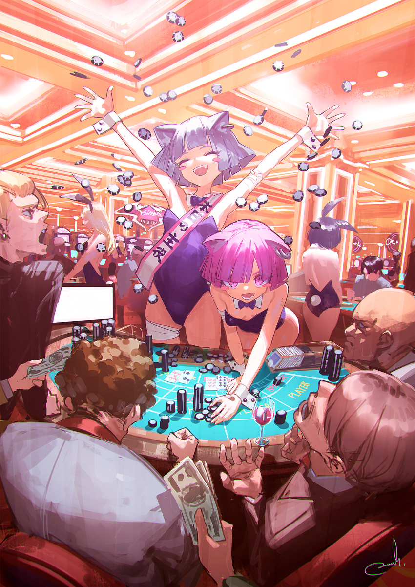 4girls 6+boys animal_ears arms_up baccarat baccarat_table bandaged_arm bandaged_leg bandages black_hair black_leotard blonde_hair blue_hair blush_stickers breasts bunny_girl bunny_tail bunnysuit card casino casino_card_table cat_ears closed_eyes commentary cup detached_collar drinking_glass earrings faceless faceless_female faceless_male fake_animal_ears gambling highres indoors jewelry leaning_forward leotard long_hair money multiple_boys multiple_girls open_mouth original pink_eyes pink_hair playing_card poker_chip rabbit_ears reoen short_hair slot_machine small_breasts strapless strapless_leotard tail translated wine_glass wrist_cuffs