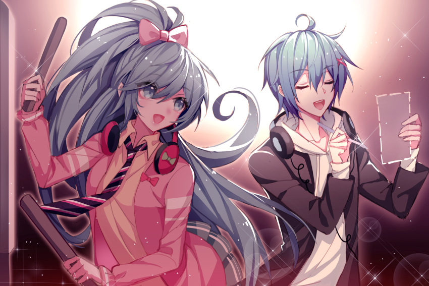 1boy 1girl ahoge blue_eyes blue_hair bow bowtie closed_eyes collarbone commentary dotted_line drawstring drum drumsticks hair_bow hair_ornament hairclip hands_up hatsune_miku headphones headphones_around_neck highres holding holding_drumsticks holding_paper holding_pen hood hoodie instrument jacket kaito kazenemuri lipstick long_hair looking_at_another makeup necktie open_mouth paper pen pink_bow pink_jacket skirt smile sparkle spotlight striped striped_neckwear very_long_hair vocaloid white_hoodie