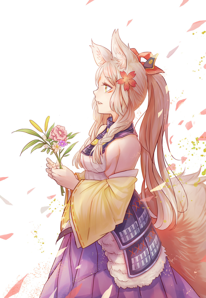 1girl animal_ears armor bai_lang bangs bare_shoulders bouquet detached_sleeves eyebrows_visible_through_hair facial_mark flower forehead_mark fur hair_flower hair_ornament high_ponytail highres holding japanese_clothes long_hair long_sleeves onmyoji onmyouji open_mouth parted_lips petals solo wide_sleeves yellow_eyes yougen_kitsune